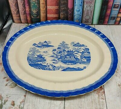 large Antique copeland spode serving platter willow plate chinese blue and white