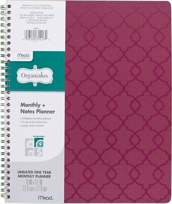 Mead Organizher Undated Monthly Planner with Notes - Organizher