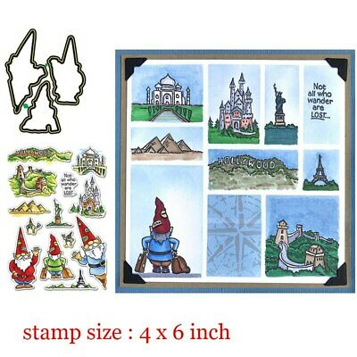 Travelling Gnomes Clear Stamps Coordinating Metal Cutting dies for DIY