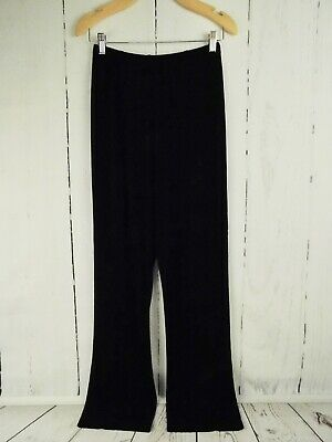 "Chicos Travelers Sz 1 Tall Acetate Stretch Black Slinky Pants 3/4"" Elastic Waist"
