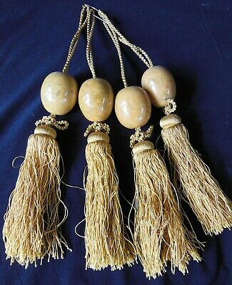 Four Antique Vintage Chinese Scroll Weights Stone Marble Spheres Silk Tassels