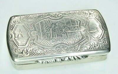 Antique Hand Chased Solid Silver Victorian Snuff Box Royalty Ship Lighthouse
