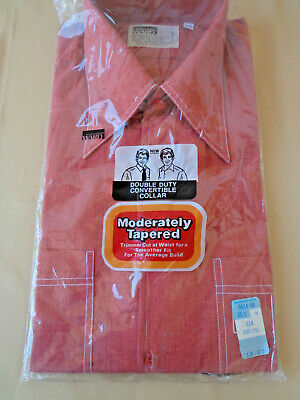 Vintage 70s Men's DRESS SHIRT S/S Rust White Stitching Tapered Wards NEW 15 1/2