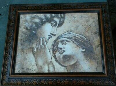 Ancient Roman Greek Man & Woman Oil Painting On Canvas In Frame W. Harris RARE