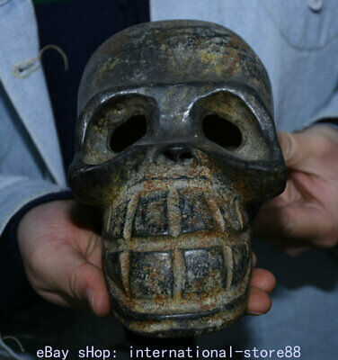 "6.8"" Old China Neolithic Hongshan Culture Old Jade Human Skeleton Skull Head"