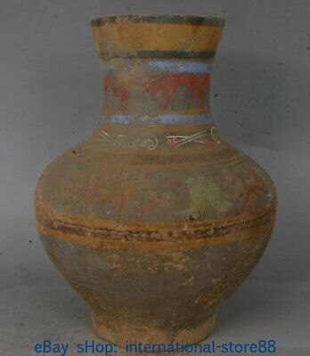 """13.6"""" Old Chinese Han Dynasty Painting Pottery Palace God Beast Bottle Vase SS"""