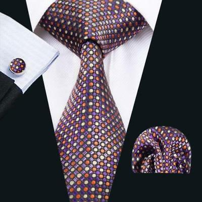 LUXURY GIFT SET Mens Purple Polka Dot Spot Silk Tie Handkerchief Hanky Cufflinks