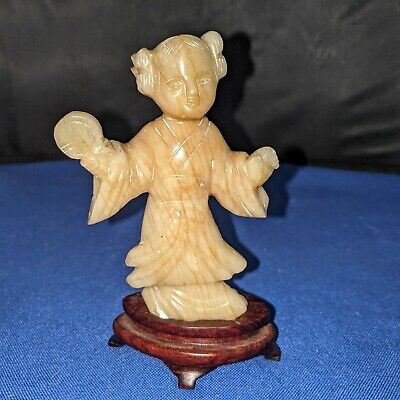 """Hand carved jade jadeite Chinese girl holding coin figurine w stand approx 4.5""""H"""