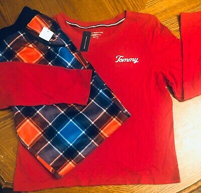 NWT WOMANS TOMMY HILFIGER PJS PAJAMAS SIZE XL RED Top Plaid Sleep Pants NEW