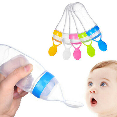 Baby Kid Silicone Squeeze Feeding Bottle With Spoon Food Rice Feeder 90ML