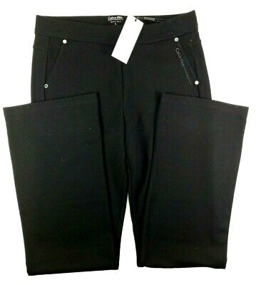 Calvin Klein Performance NEW Black Pull On Bootleg Ponte Pants Womens Large