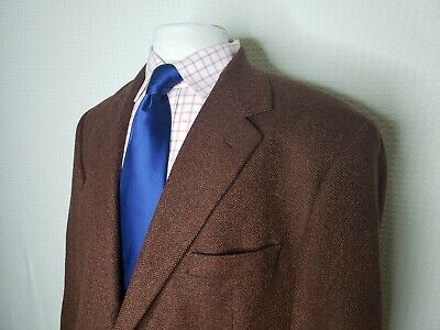 Brooks Brothers Italy Mens 43R Rust Brown Herringbone 100% Lambswool Sport Coat
