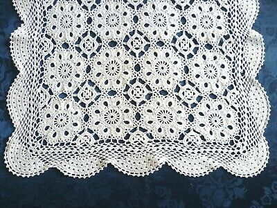 VINTAGE CROCHETED WHITE COTTON TABLE RUNNER / TABLE CENTRE 57 cm x 36 cms