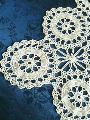 VINTAGE CROCHETED ANTIQUE WHITE HEAVY COTTON TABLE RUNNER 90 cm x 44 cms