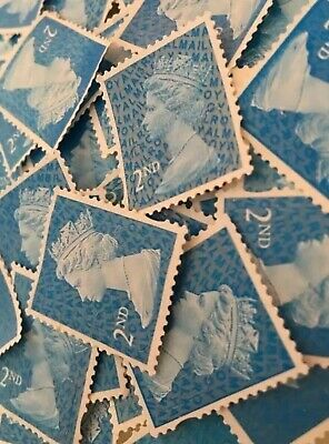500 X 2nd Class Blue Unfranked Stamps Off Paper No Gum  FV £325 (send 540)