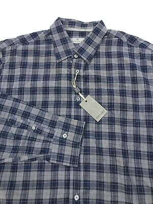 Canali Current Mens Luxury Gray Plaid Tartan Button Up Shirt Size 2XL Italy