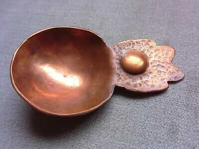 1890s ANTIQUE ARTS & CRAFTS HAND CRAFTED COPPER LEAF TEA CADDY SPOON