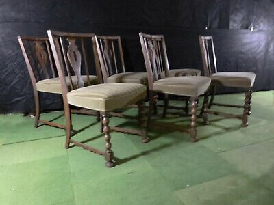 EB474 OAk & Striped Velour Dining Chairs x 6 Vintage Retro Mid-Century