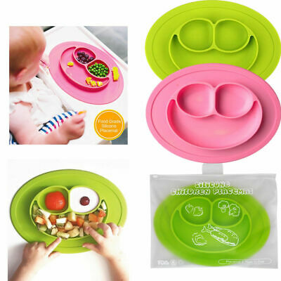 Baby Cute Silicone Happy Mat Kids Suction Table Food Tray Placemat Plate Bowl UK