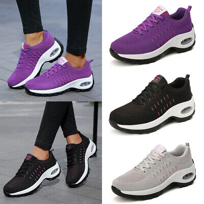 Womens Breathable Mesh Trainers Ladies Lace Up Sneaker Sport Running Shoes Size