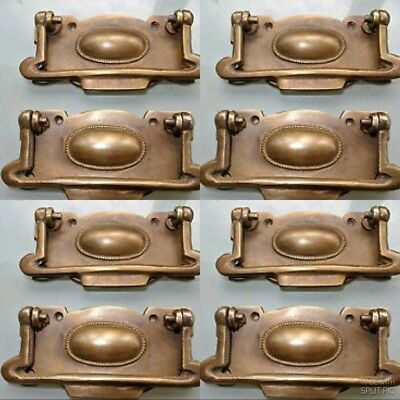 8 cabinet handles brass furniture vintage age old style 95mm heavy for antiques