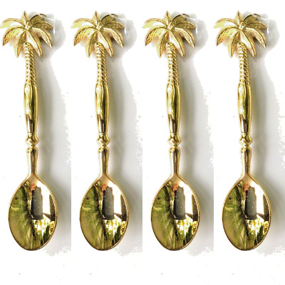 PALM 4 small solid brass serving spoon14 cm brass polished spoons HANDLES 5.1/2""