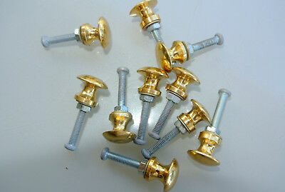 10 TINY bolt KNOBS pulls handles antique solid heavy brass drawer knob 15 mm