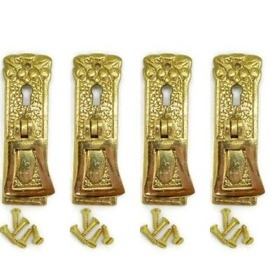 4 polished old style pulls handles heavy brass vintage cupboard key hole 1920s
