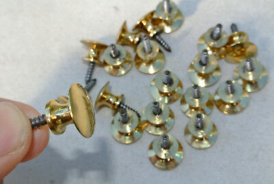 20 TINY screw KNOBS pulls handles antique solid heavy brass drawer knob 15 mm