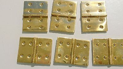"6 small cast polished hinges vintage style solid Brass DOOR BOX heavy 2"" screws"