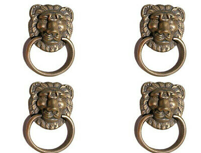 4 PULLS handles Small heavy LION SOLID BRASS old style screws house antiques 2""