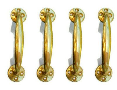 "4 polished old style pulls handles pair heavy brass vintage cupboard doors 5"" D"