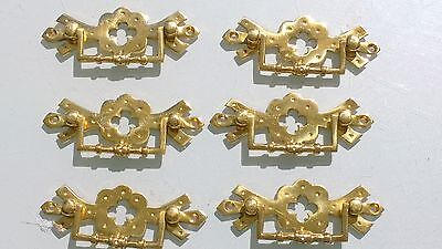 6 heavy handles polished pull solid brass heavy old vintage style drawer 4""