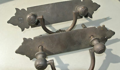2 used large BOX HANDLES vintage aged style solid Brass DOORS heavy 25cm bolt