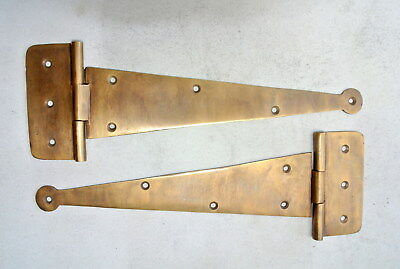 "2 Large hinges vintage aged solid Brass DOOR box restore heavy 10 "" long 26 cmB"