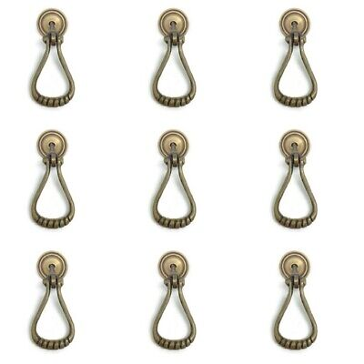 8 loop pulls handles solid aged heavy brass door old style drops knobs 6 cm long