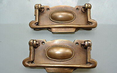 2 cabinet handles brass furniture vintage age old style 95mm heavy for antiques