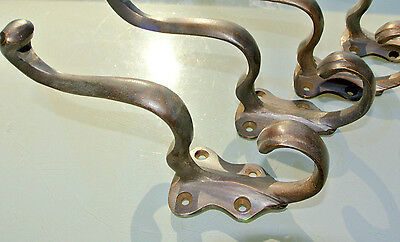 4 COAT HOOKS victorian door solid heavy brass furniture vintage age old style