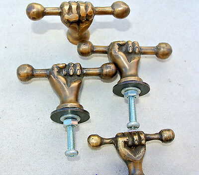 4 small pulls handles FIST solid brass old style shape HAND knobs heavy 45mm