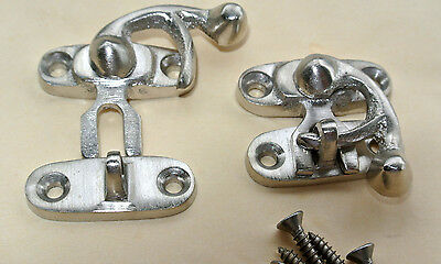 2 Nice tiny small box Latch catch solid brass silver doors trinket inc screws