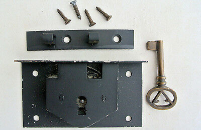 "old style BOX DOOR lock for Antiques doors furniture & brass key 4"" locks recess"