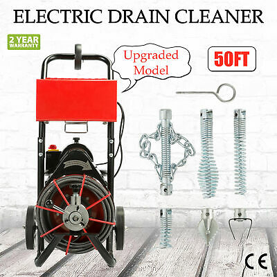 50FT*1/2'' Drain Auger Pipe Cleaner Cleaning Machine 160RPM Sewer Snake Plumber!