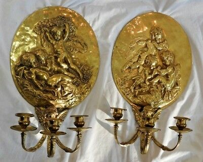 Pair of 19th Century NeoClassical Brass Wall Appliques or Sconces