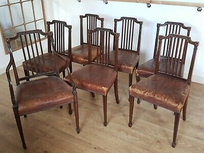 Set of 6 Edwardian Dining Chairs and 1 Carver, with Leather Seats