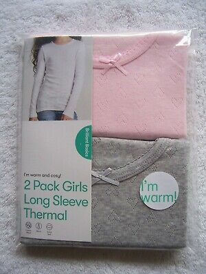 BNIP Girl's 2 Pack Pink & Grey Thermal Long Sleeve Spencer Size 3, 4, 6 & 10