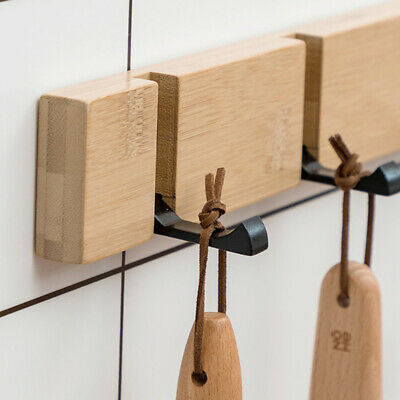 SN_ Bamboo Wall Mounted Hanging Hanger Hooks Key Holder Storage Door Rack Orga