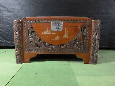 EB492 Chinese Carved Chest Storage Vintage Retro