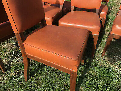 EB516 9 x Stained Beech and Orange Vinyl Dining Chairs Vintage Retro 50s