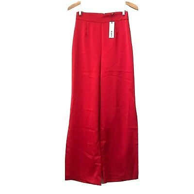 BB Dakota Womens Size 4 Palazzo Pants Satin Red High Rise Wide Leg Side Slit