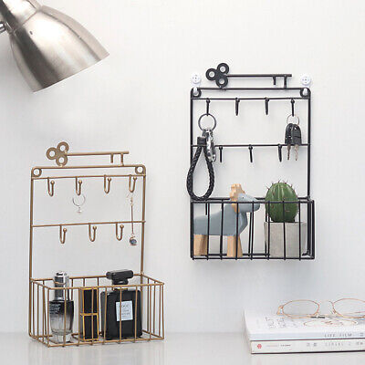 Metal Wire Iron Wall Shelf Rack Storage Unit Basket With Hook Key Hanging Hanger